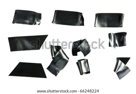 Black electrical tape Isolated on white. - stock photo