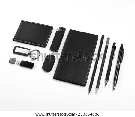Black Elements of corporate identity, set of office stationery, isolated on white background - stock photo