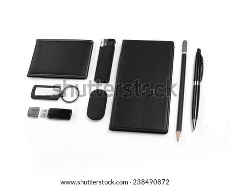 Black Elements of corporate identity, set of office stationery, isolated on white background - stock photo