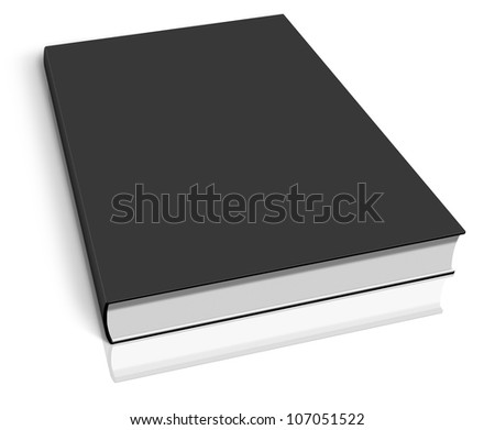 Black empty book template on white background.