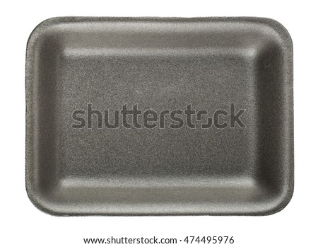 Black empty food tray isolated on white background
