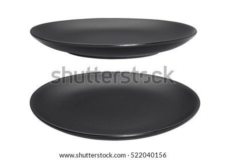 Black empty plate isolated on white background