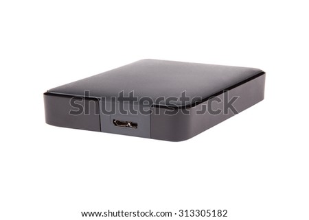 black external hard disk drive, portable storage, isolated on white - stock photo