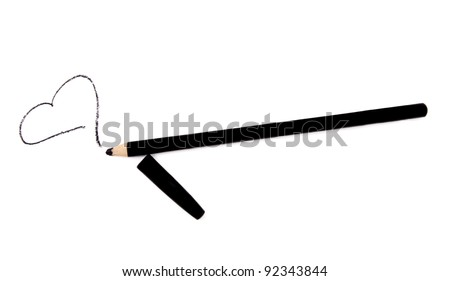 Black eye liner pencil with heart isolated on white