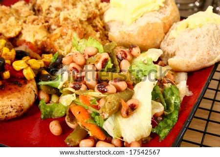 black eye pea salad in kitchen or restaurant. - stock photo
