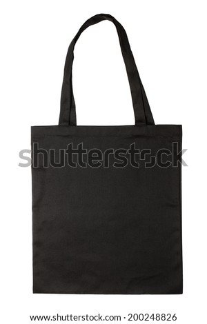 Black fabric bag isolated on white background - stock photo