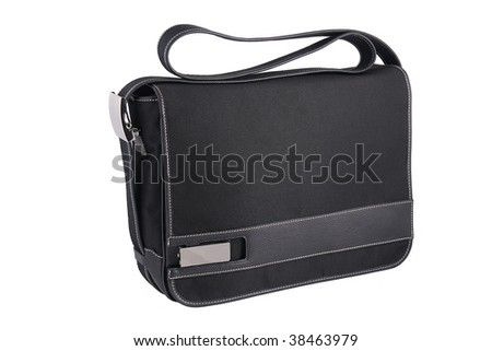 black fabric stylish fashion briefcase on a white background
