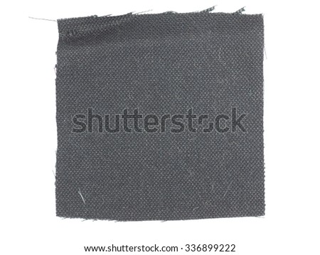 Black fabric swatch over white background - stock photo