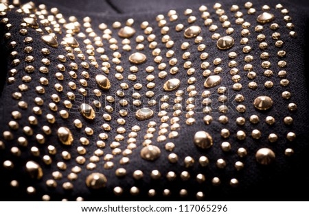 Black fabric with ornament - stock photo