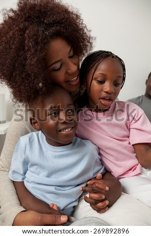 Black family in the bed