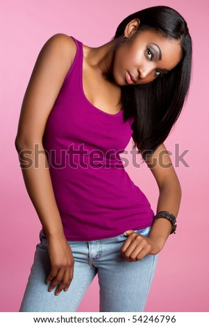 Black fashion model woman - stock photo