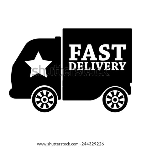 black fast shipping icon, tag, label, badge, sign, sticker isolated on white  - stock photo