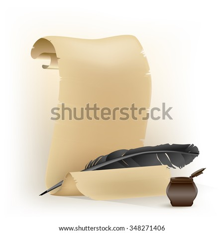 black feather and old scroll on white. JPG version - stock photo