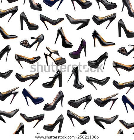 Black female shoes background - stock photo