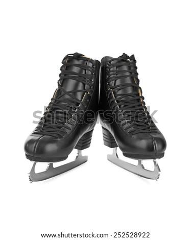 Black figure skates isolated on white background - stock photo