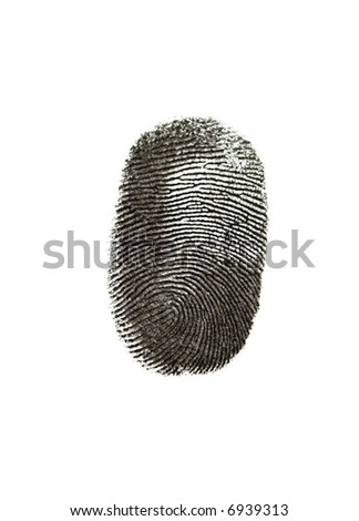 Black fingerprint on white background - stock photo