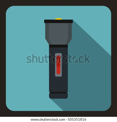 Black flashlight icon. Flat illustration of flashlight  icon for web