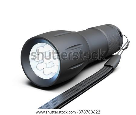Black flashlight isolated on white background. 3d illustration. - stock photo