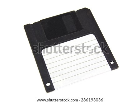 Black floppy disk with blank label isolated on white background - stock photo