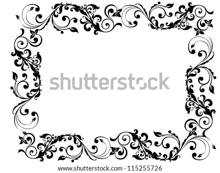 Black floral and swirly picture frame - stock photo