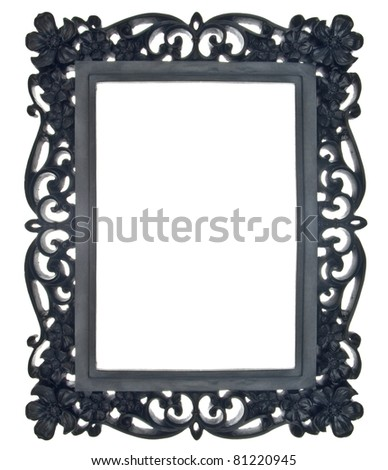 Black Floral Ornate Frame Isolated on White with a Clipping Path. - stock photo