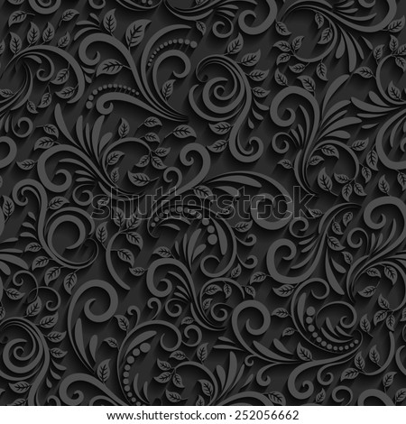 Black floral seamless pattern with shadow. For invitation cards, decor and decorating weddings or other festive events - stock photo