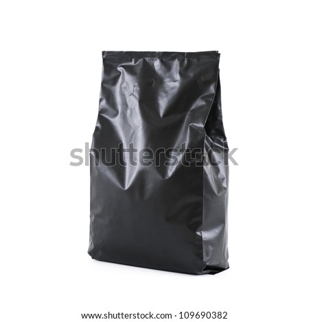 black foil bag pack isolated on white background - stock photo