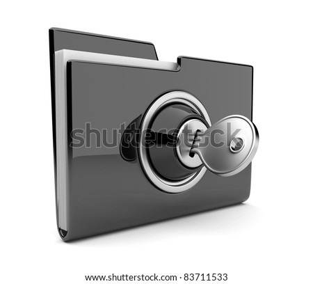 Black folder and lock. Data security concept. 3D - stock photo