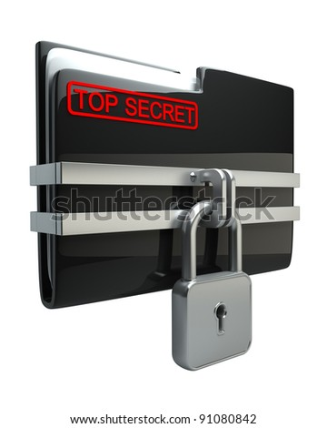 BLACK Folder with closed lock (Top secret) isolated on white background High resolution. 3D image - stock photo