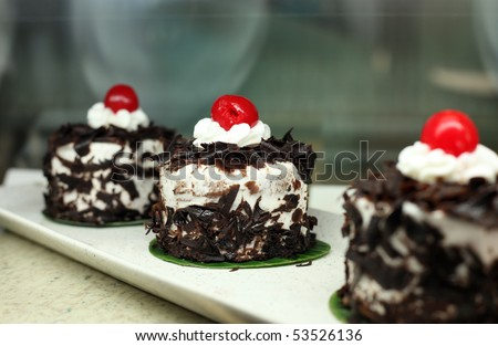 black forest cake in small portion in display - stock photo