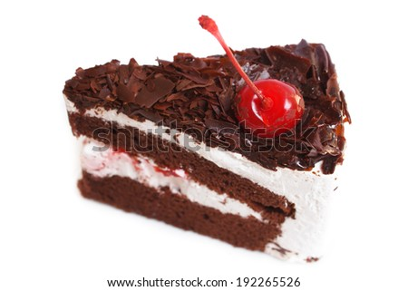 black forest cake isolated on white. - stock photo