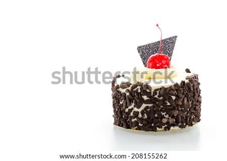 Black forest cake isolated on white - stock photo