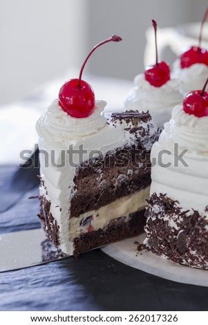 Black Forest cake with maraschino cherries  - stock photo
