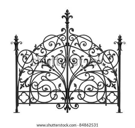 Black forged gates with decorative lattice isolated on white background - stock photo
