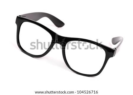 black frame glasses - stock photo