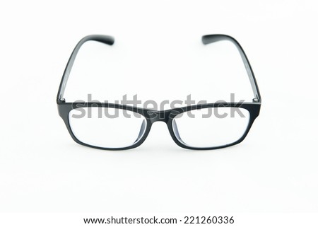 Black frame glasses  in isolate - stock photo