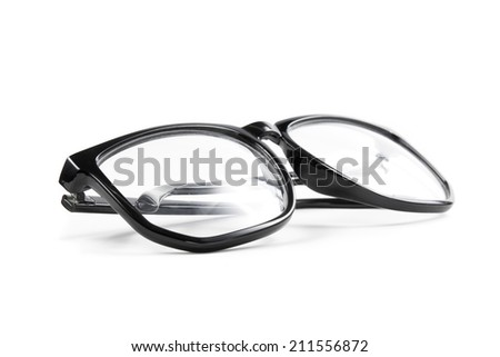 black frame glasses isolated on white background.
