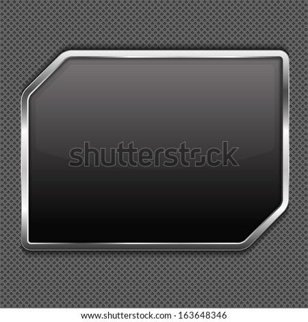 Black frame on a metal background - stock photo