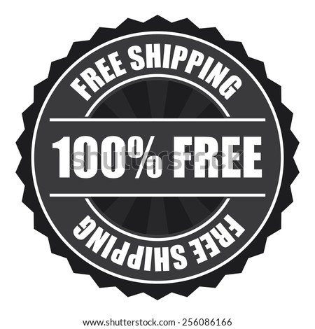black free shipping 100% free icon, tag, label, badge, sign, sticker isolated on white  - stock photo