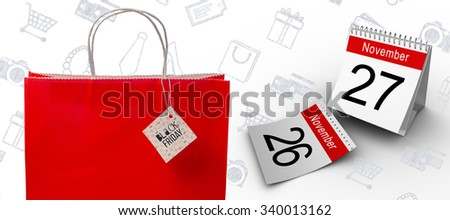 Black friday advert against white background with vignette