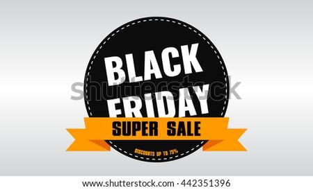 Black Friday banner. Sale. Discounts. Shares. Label Design Black Friday. Rasterized Copy. - stock photo
