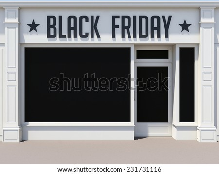 Black Friday in the shoping center. White store facade. - stock photo