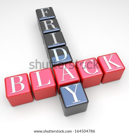 Black friday - red and black cubes on white background