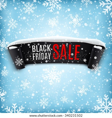 Black Friday sale background with black realistic ribbon banner and snow. Sale. Winter sale. Christmas sale. New year sale. illustration  Raster version.  - stock photo