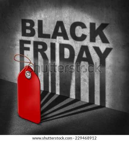 Black friday sale concept as a red price tag casting a shadow on a wall with text as a symbol to celebrate the start of holiday season shopping for low prices at retail stores.