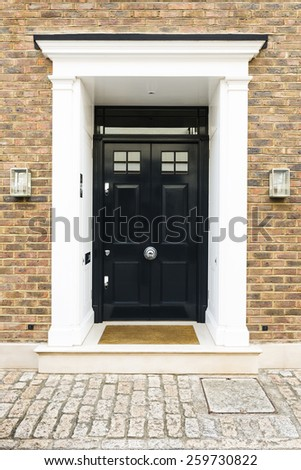 Black Front Door House Glass Windows Stock Photo Edit Now