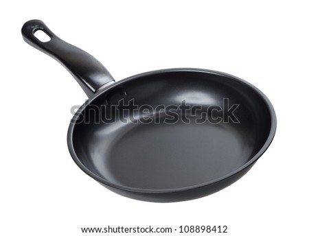 black frying pan isolated on white background - stock photo