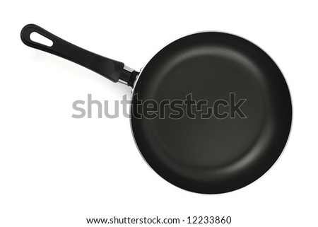 Black frying pan (top view), isolated on white background
