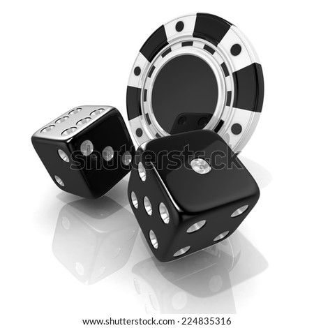 Black gambling chips and dices. 3D render isolated on white - stock photo