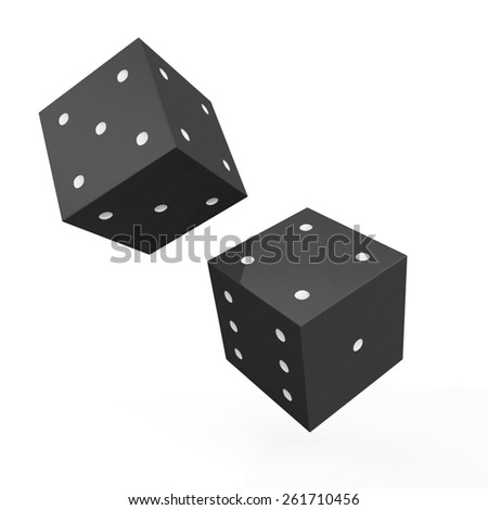 Black game dices with white dots isolated on white background - stock photo